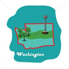Washington State Maps by Washington State Map With Washington Space Needle Vector Image