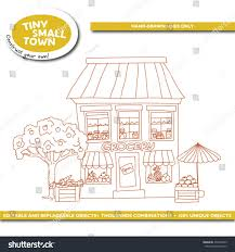 tiny small town grocery store cartoon stock vector 434396659
