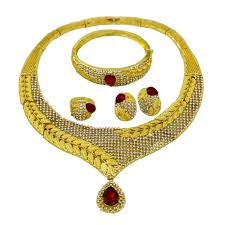 red big necklace images New fashion dubai glamour women gold jewelry sets red big crystal jpg