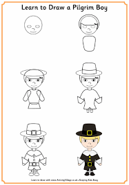 learn to draw a pilgrim boy thanksgiving printables