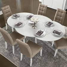 Modern White Dining Room Set by Bianca White High Gloss U0026 Glass Round Extending Dining Table 1 2