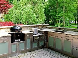 Outdoor Kitchen Faucet Outdoor Kitchen Cabinet Kits With Ebony Wood Red Shaker Door
