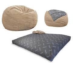 convertible bean bag chair converts from a chair to a mattress bed