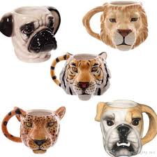 animal head ceramic cups dog shaped mug 3d pug tiger lion leopard