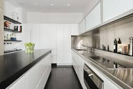 Modern Galley Kitchen Design Kitchen Soft White Design Gallery In The Kitchen With Fitted