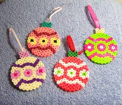 holiday ornaments set of 4 beaded bulb ornaments perler beads