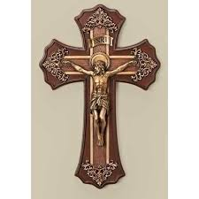 wooden crucifix crucifix wood look w antique gold the catholic company