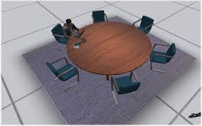 Circular Meeting Table Second Life Marketplace Circular Desk Office Desk Meeting