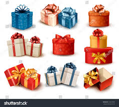 boxes with bows set colorful retro gift boxes bows stock vector 164649809