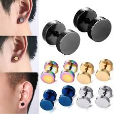 black stud earrings 2018 black stud earrings men women faux gauges ear plugs tunnel
