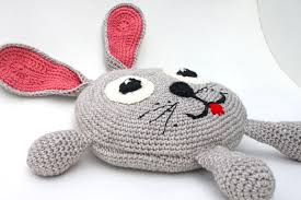 Pink Round Cushion Round Crochet Bunny Pillow Round Pillow Baby Pillow Kids