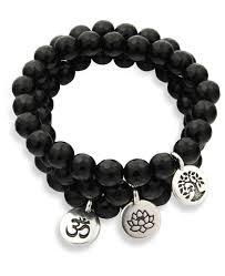 black bracelet with charm images Symbolic black onyx bracelet with engraved charm usa jpg
