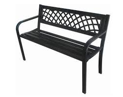 metal garden bench seat chair outdoor seating black steel frame
