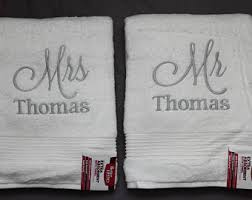 wedding gift towels mr and mrs towel set etsy