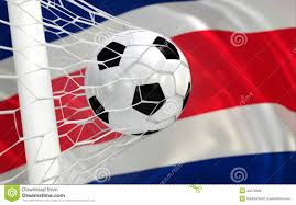 Costarican Flag Costa Rica Flag With Championship Soccer Ball Stock Illustration