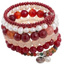 red wrap bracelet images 6 strands red pearl crystal agate wrap bracelet purple lotus jewelry jpg