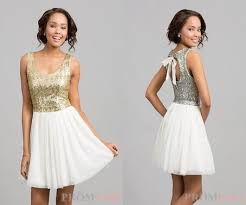 short white dress open back gold sequin top bow in back on the hunt