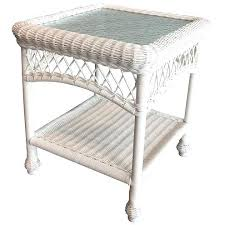 white wicker end table outdoor wicker end table glass top outdoor wicker white end table