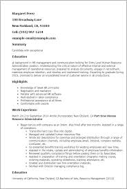Resume Examples Administration by Professional Entry Level Human Resource Administration Templates