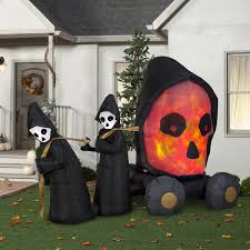 Halloween Inflatables Videos by Halloween Airblown Inflatable 7ft Fire And Ice Skull Coach Scene
