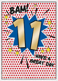11th birthday card with comic book theme cubecure
