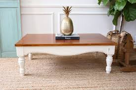 white vintage coffee table white and brown low rectangle stained wood vintage coffee tables