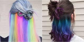 rainbow color hair ideas new hair trend alert underlights spell magazine
