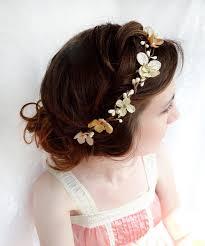 flower girl hair accessories gold hair accessories chagne hair flower flower wreath