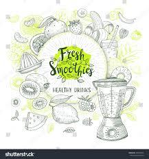 fresh smoothie healthy drinks logo sketch stock vector 486028936