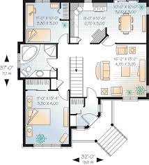 37x32w first floor plan of country hillside traditional house plan