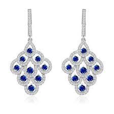 blue chandelier earrings exquisite sterling silver sapphire blue cz chandelier earrings