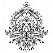 Indian Flower Design Henna Tattoo Flower Template In Indian Style Ethnic Floral