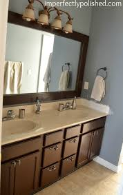 master bathroom update stained mirror frame