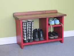 wooden shoe bench shabby red wooden bench with triple shelves combined with short
