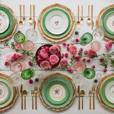 Pink And Gold Table Setting by Florentine Chargers In White Gold The Green Botanicals Vintage