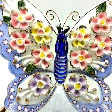 Butterfly Office Decor Vintage Style Porcelain Flower Butterfly Ornament For Home Office