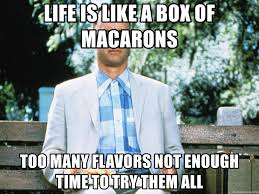 Life Is Like A Box Of Chocolates Meme - life is like a box of macarons too many flavors not enough time to