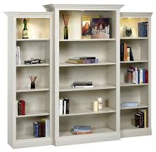 White Wood Bookcases Hampton Wall System In Pearl White Finish 20 In L X 96 In W