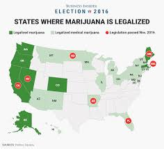 2016 Election Map 7 States That Legalized Marijuana On Election Day Business Insider