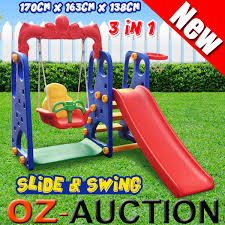 kids slide swing basketball ring activity center toddlers outdoor