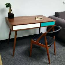 Modern Desk With Drawers Mid Century Modern Desk With Two Push To Open Drawers And Cable Il