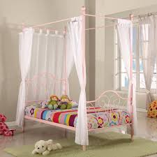 bedroom pink metal canopy bed twin size for little girls