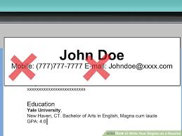 How To Write Continuing Education On Resume 3 Ways To Write Your Degree On A Resume Wikihow
