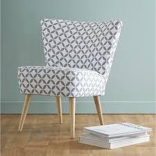 fauteuil de la maison fauteuil vintage à motifs en coton gris et blanc lounge living