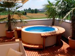 outdoor backyard deck designs with tub ideas corner