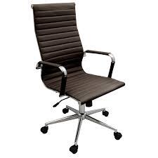 Desk Chair Back New Coffee Brown Modern Executive Ergonomic Ribbed High Back