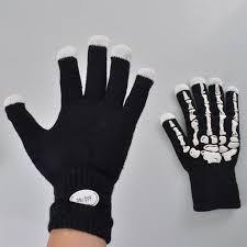 halloween skeleton gloves 7 mode skeleton bone led light up gloves for halloween