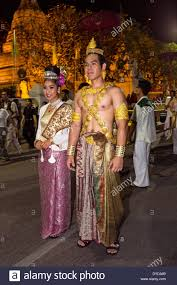 Festival Of Lights Thailand Couple In Traditional Costume Parade Loi Krathong Festival Of