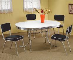 Kitchen Tables Furniture Coaster Cleveland Round Chrome Plated Dining Table Coaster Fine