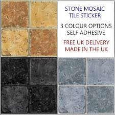 6 stone effect tile stickers for kitchen bathroom decal